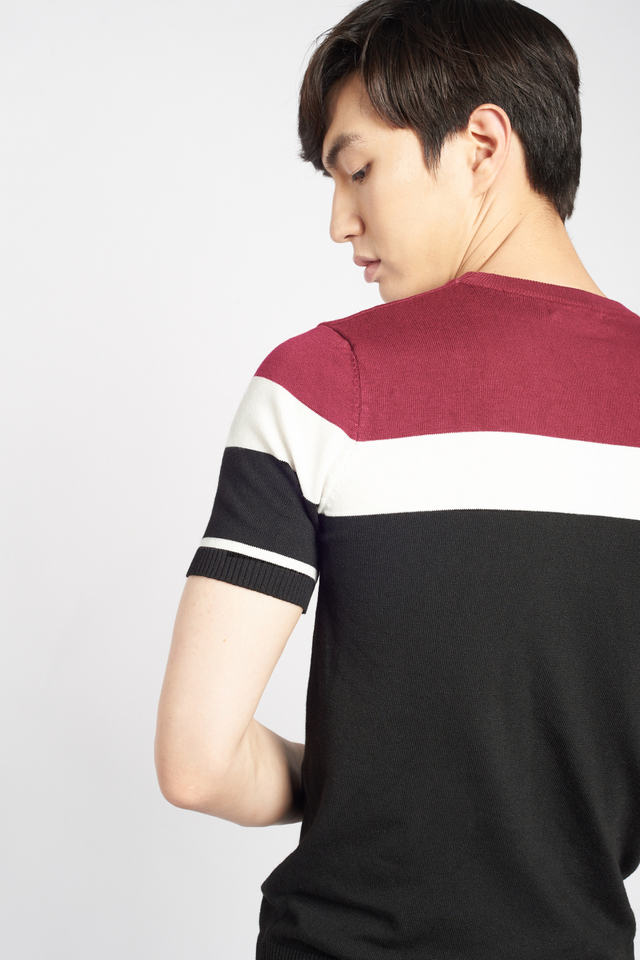 Fine Knit Color-Block Short Sleeve T-shirt in Red