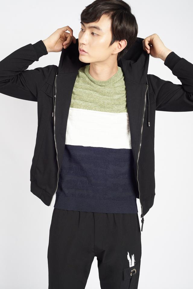Fine Knit Color-Block Short Sleeve T-shirt