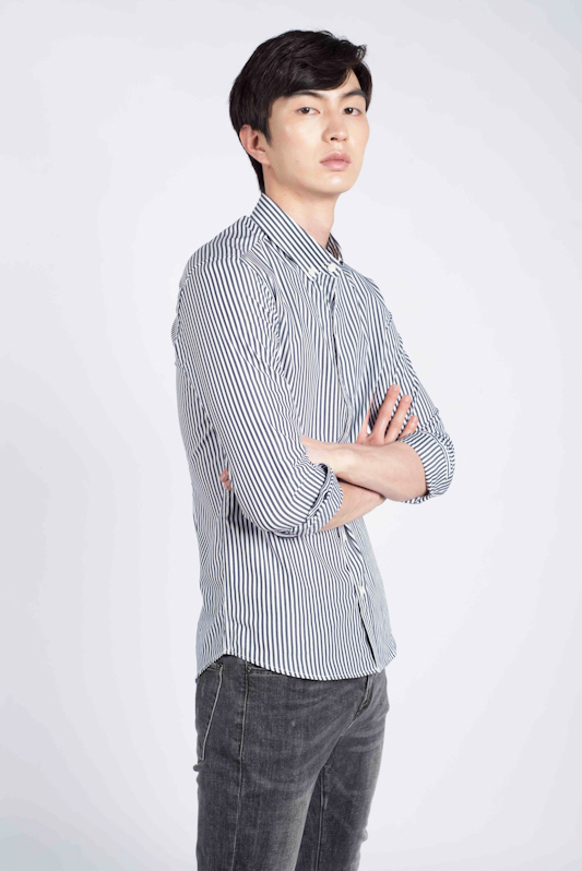 Striped Long Sleeve Slim-fit Shirt in Black