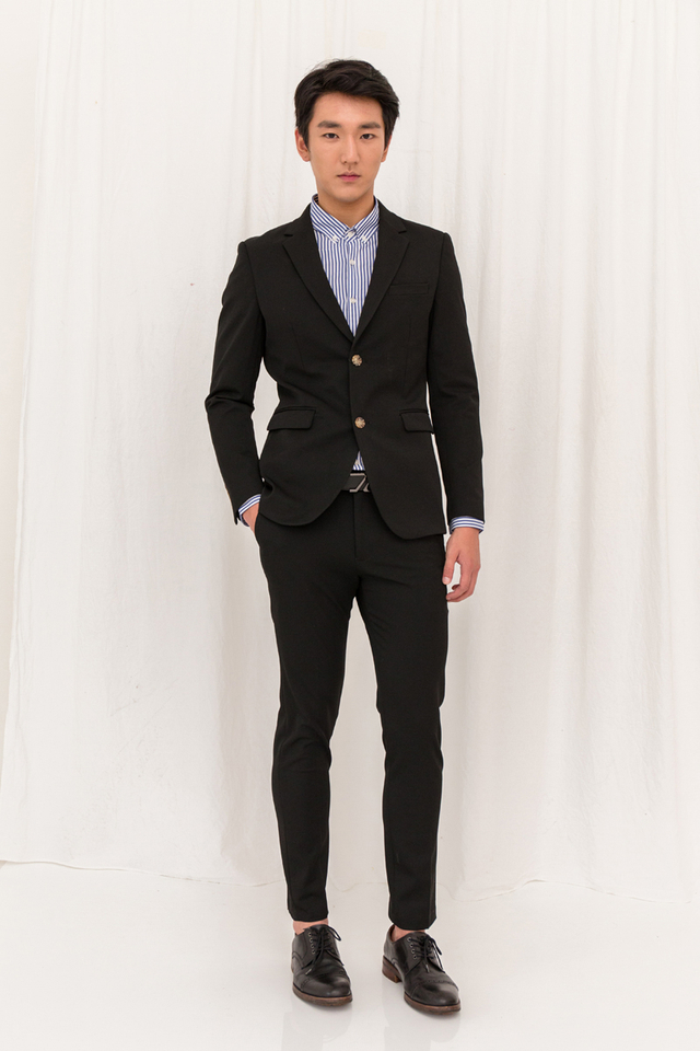 Basic Ankle Suit Trousers in Black