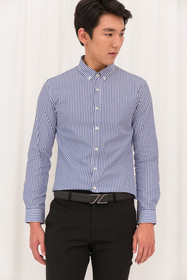 Striped Long Sleeve Slim-fit Shirt in Blue