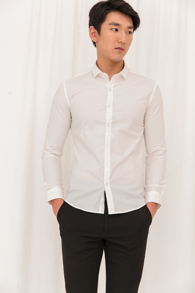 Basic Long Sleeve Slim-fit Shirt in Cream