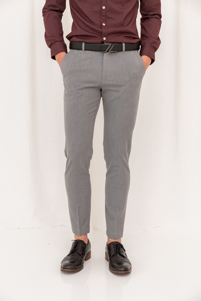 Basic Ankle Suit Trousers in Grey