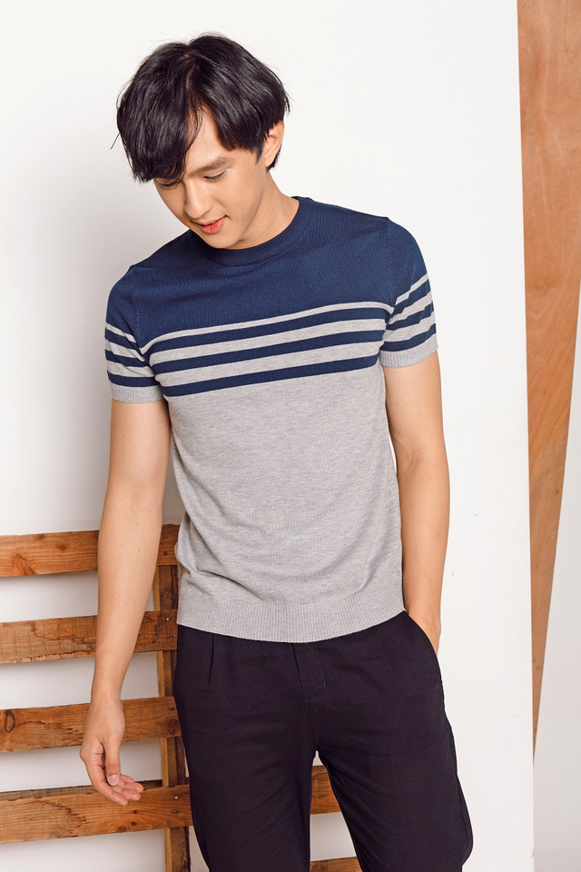 Fine Stripe Short Sleeve Knitwear