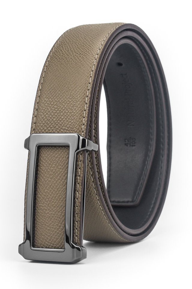 Chrome Grey Rectangle Buckle with Green Khaki Belt