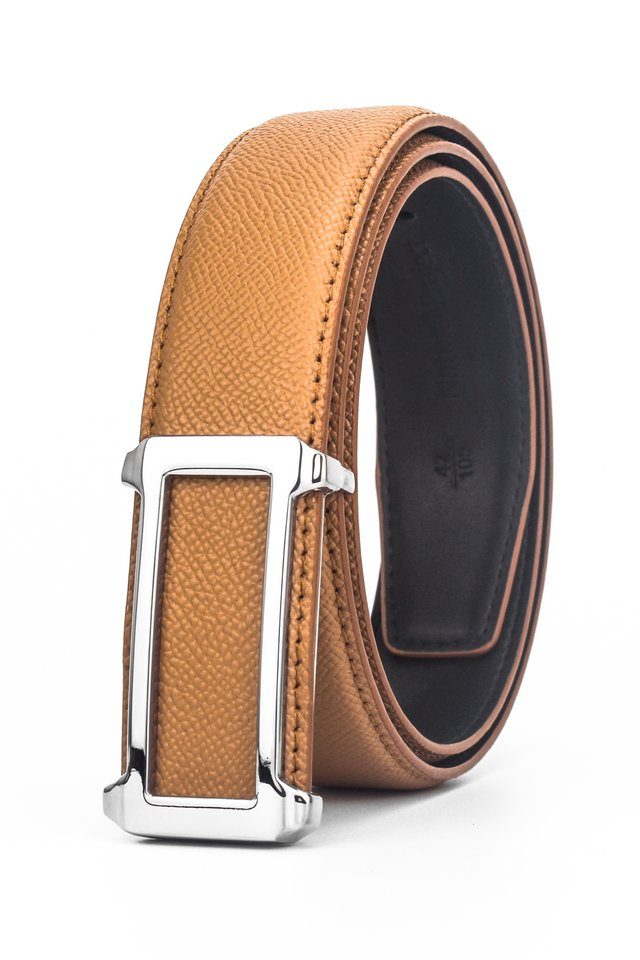 Chrome Silver Rectangle Buckle with Orange Belt