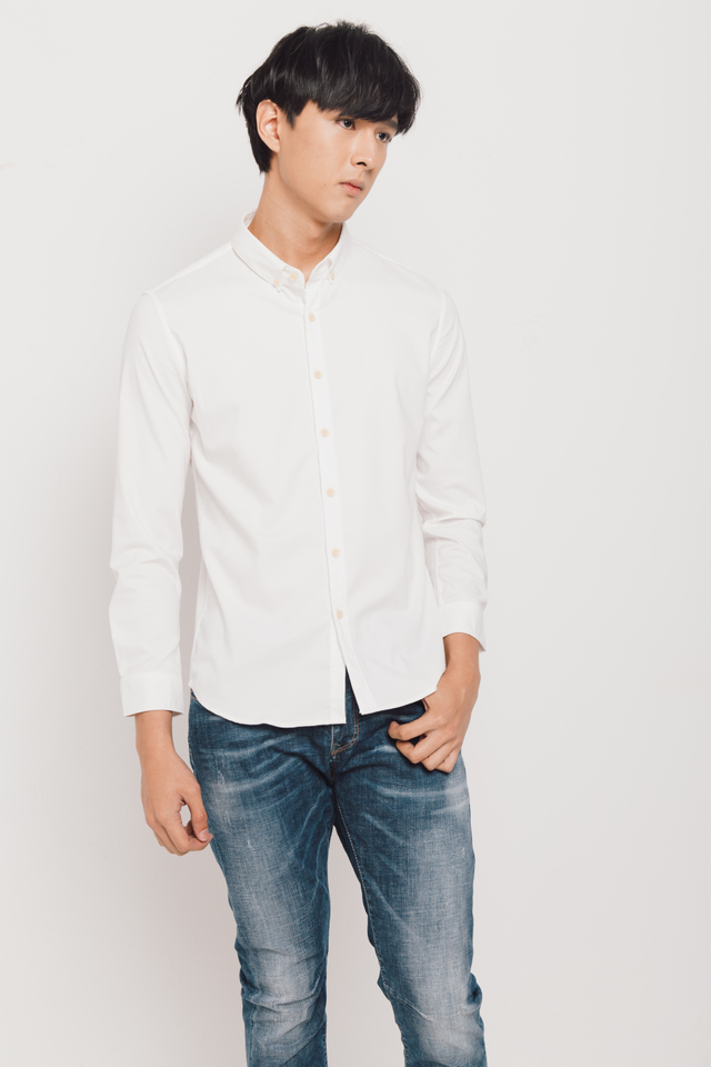 Classic Long Sleeve Slim-fit Shirt in White