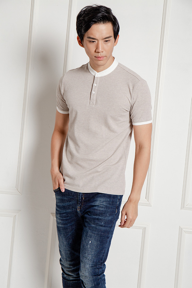 Grey Beige Tee with Mandarin Collar