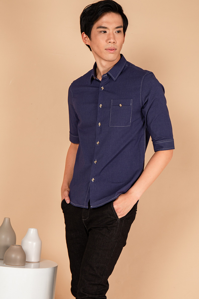Blu Pocket Button Down Shirt