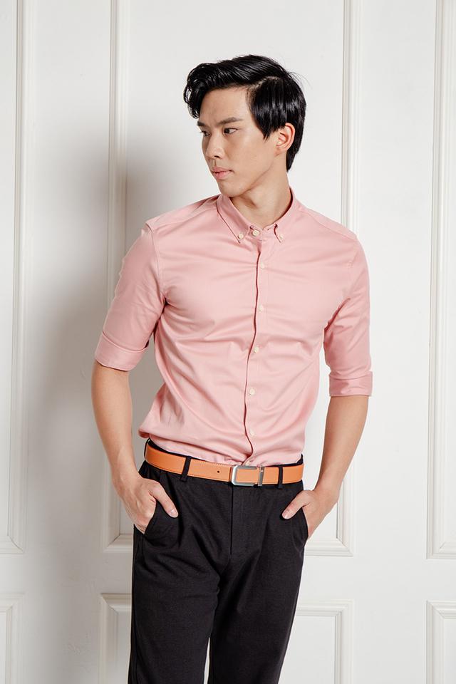 Peach Shirt in Half Sleeves