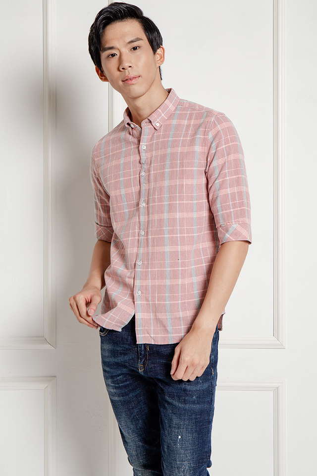 Pink Grey Checked Shirt