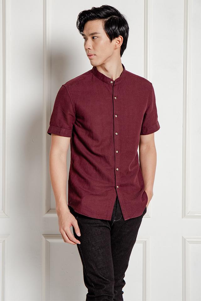 Wine Red Mandarin Collar Shirt