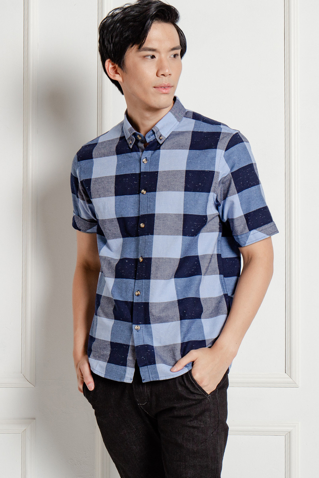 Blue Big Checked Shirt