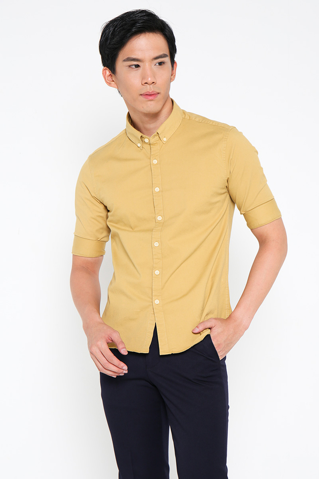 Mustard Shirt in Half Sleeves