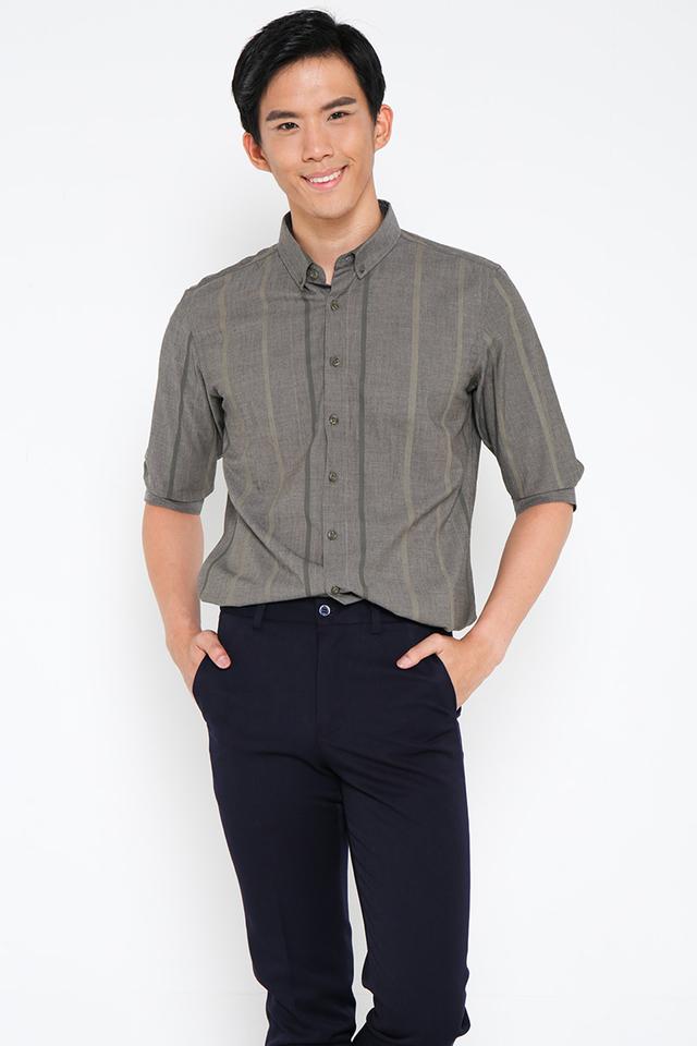 Dual Striped Shirt in Dark Grey