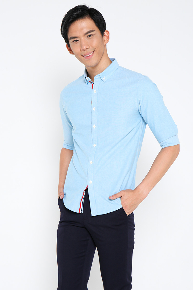 Lake Blue Half Sleeves Shirt