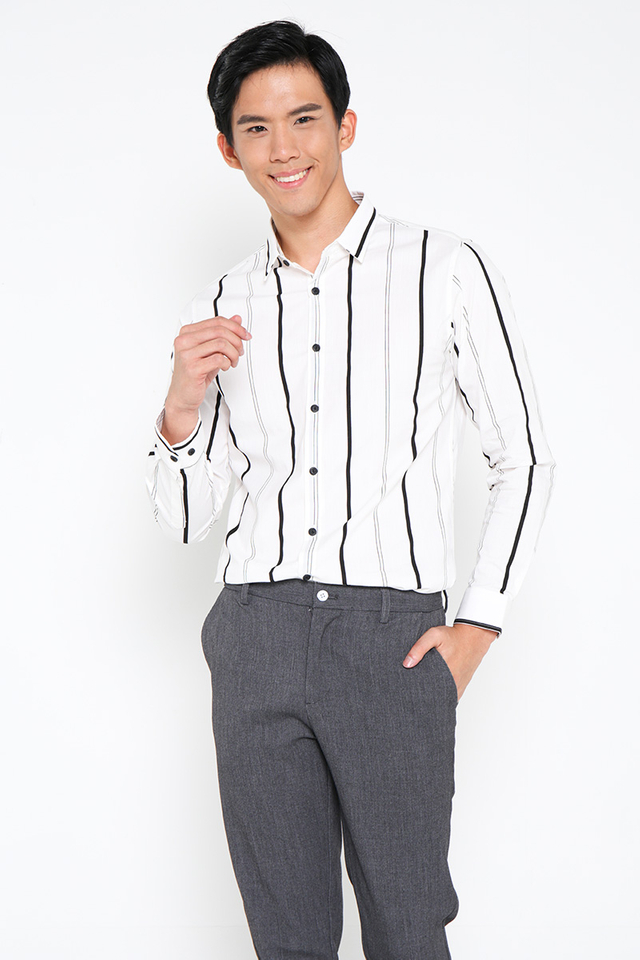 Formal Striped Shirt in White