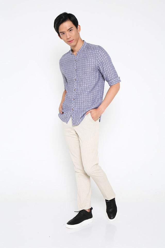 Mandarin Collar Checked Shirt in Blue