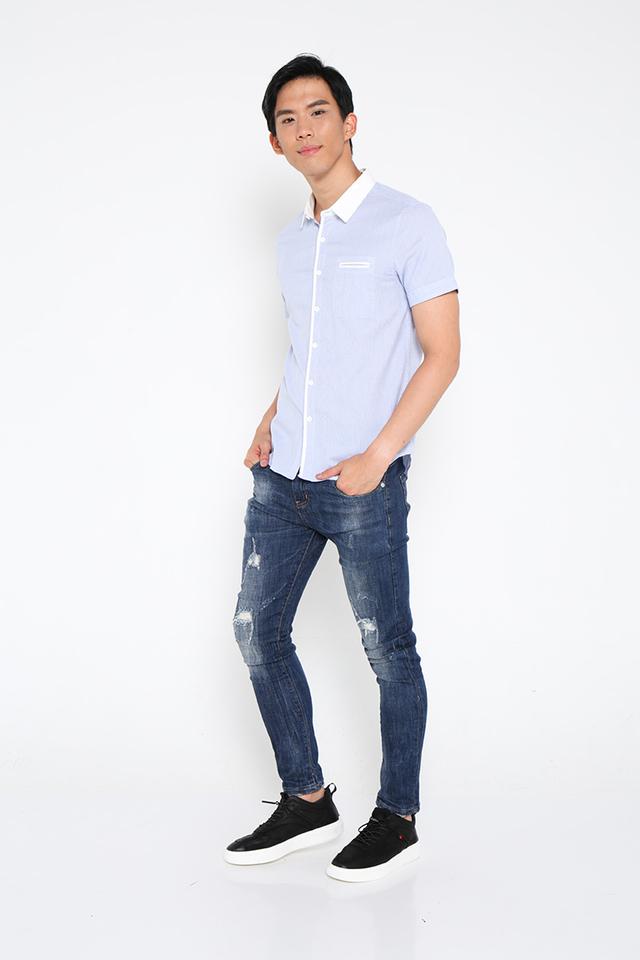 Lined Pocket Shirt in Blue