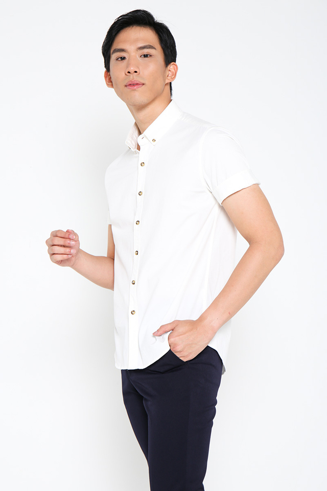 Cream White Short Sleeves Shirt