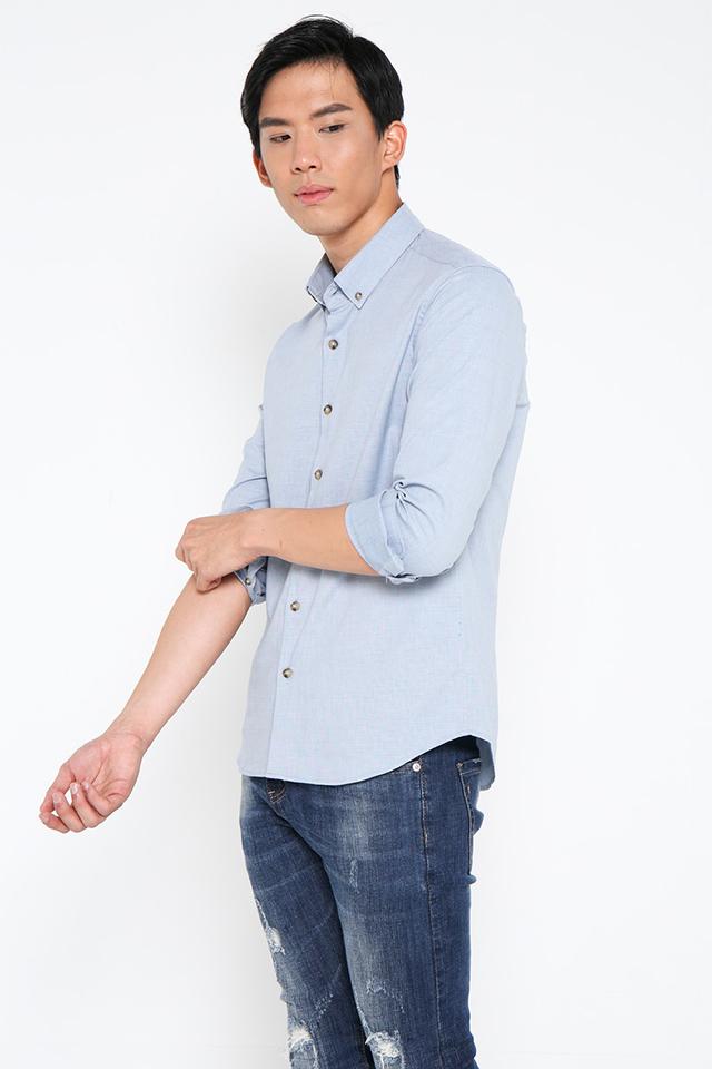 Maya Blue Casual Long Sleeve Shirt