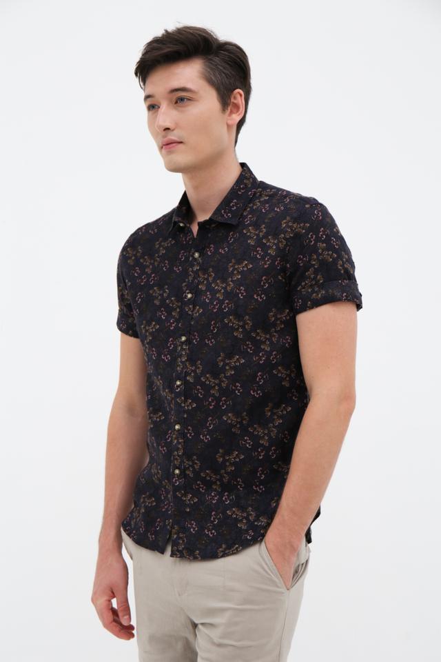 Dark Floral Linen Shirt