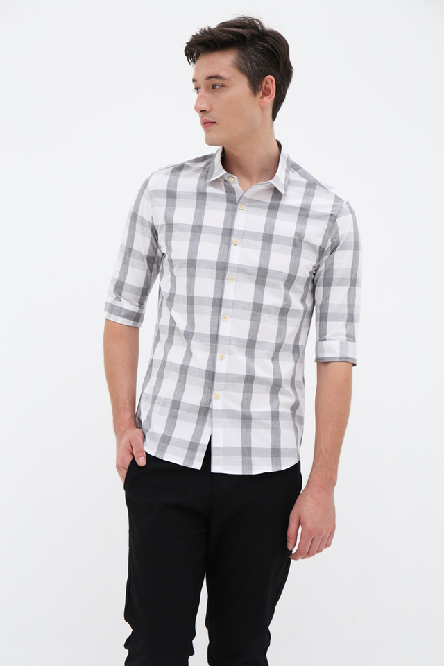Grey Checkered Half Sleeve Shirt