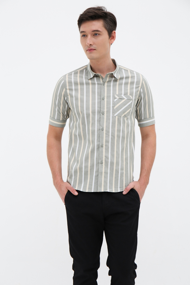 Striped Green Half Sleeve Shirt