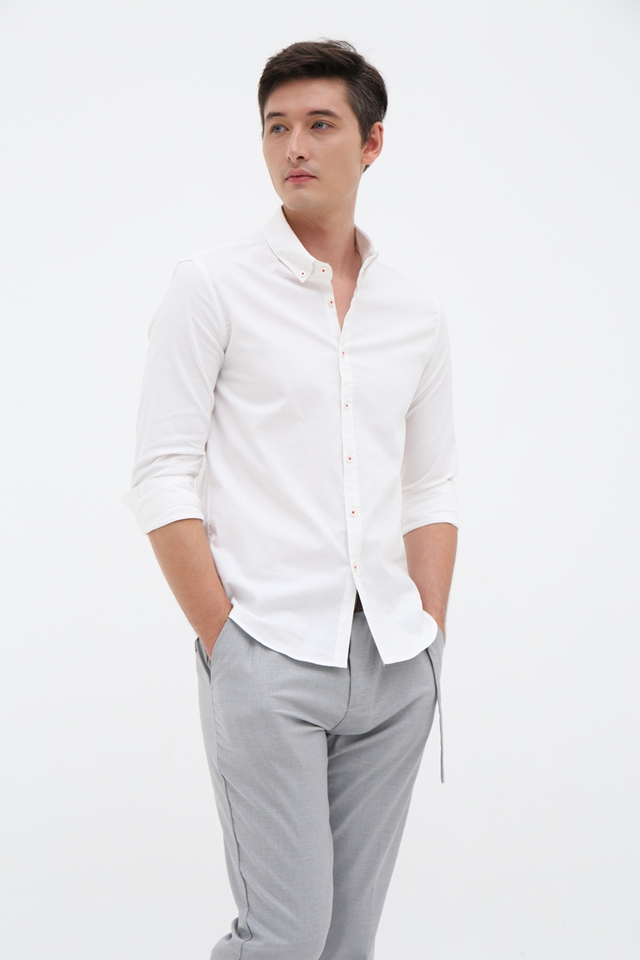 White Long Sleeve Casual Shirt