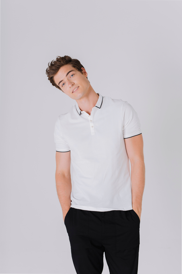 Modest Collar Polo Tee Shirt in White