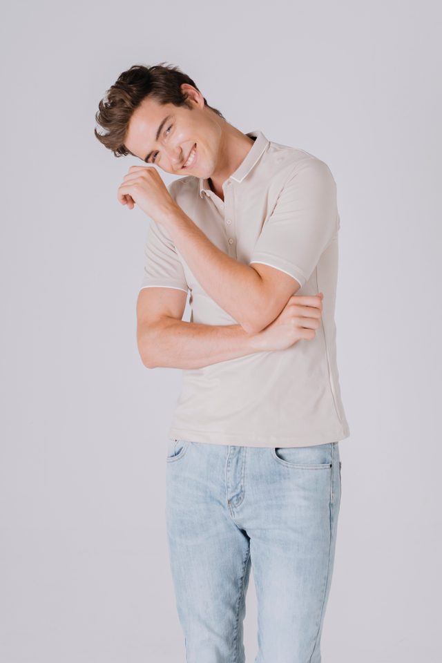 Modest Collar Polo Tee Shirt in Beige