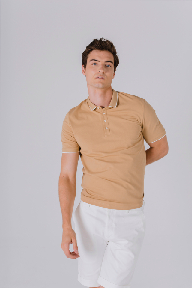 Modest Collar Polo Tee Shirt in Mustard