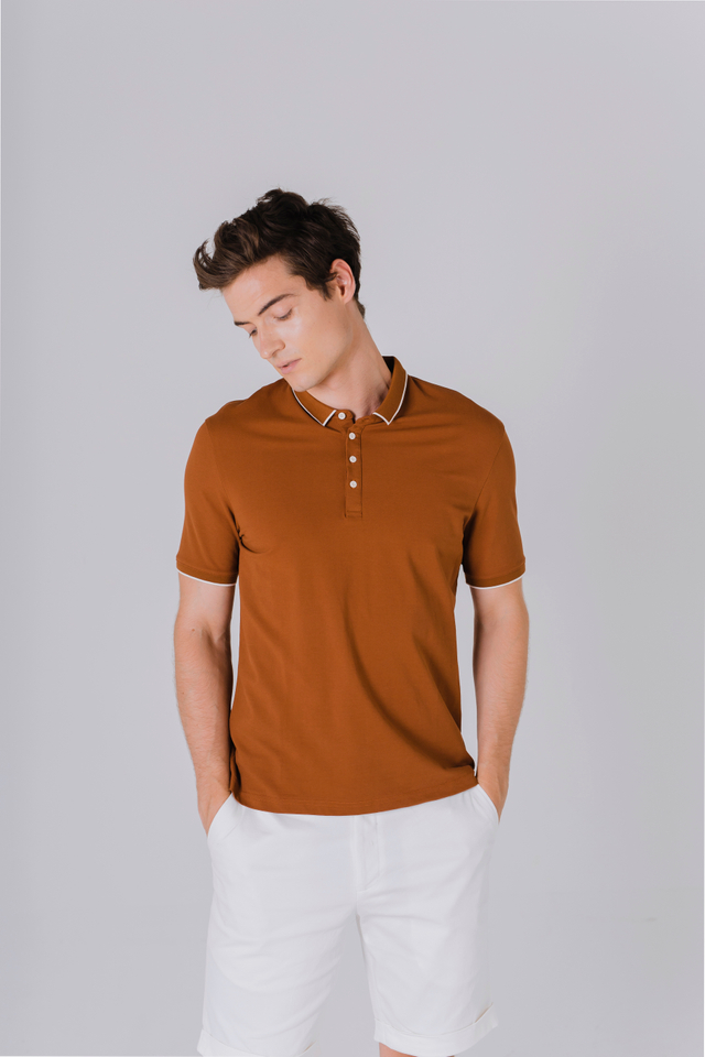 Modest Collar Polo Tee Shirt in Caramel