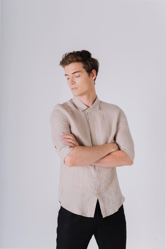 Striped Linen Shirt in Sand