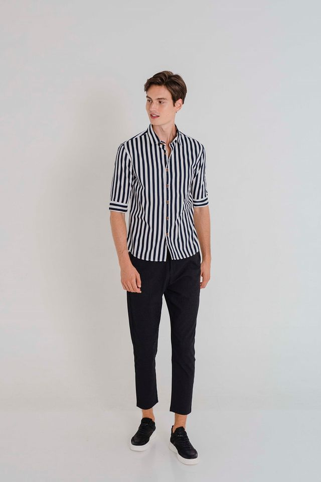 Monochrome Striped Shirt in Blue