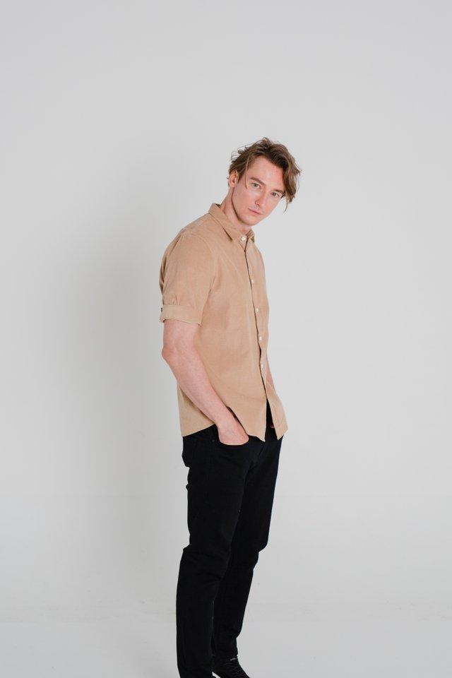 Warm Caramel Corduroy Half Sleeve Shirt