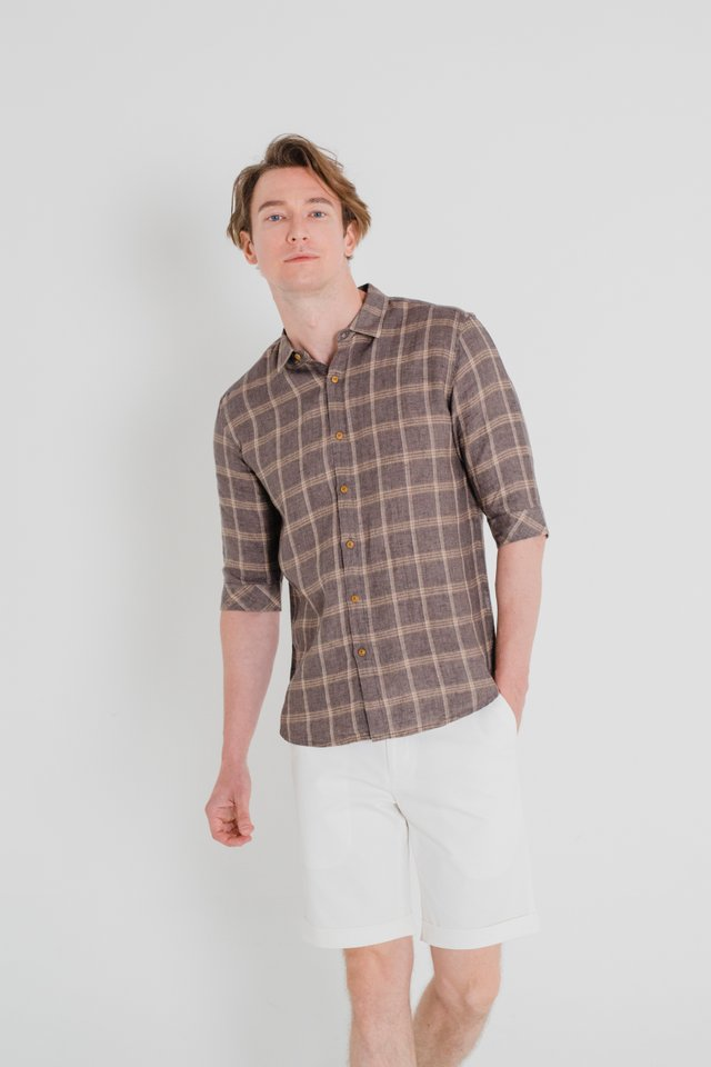 Brown Checkered Linen Shirt in Half Sleeves