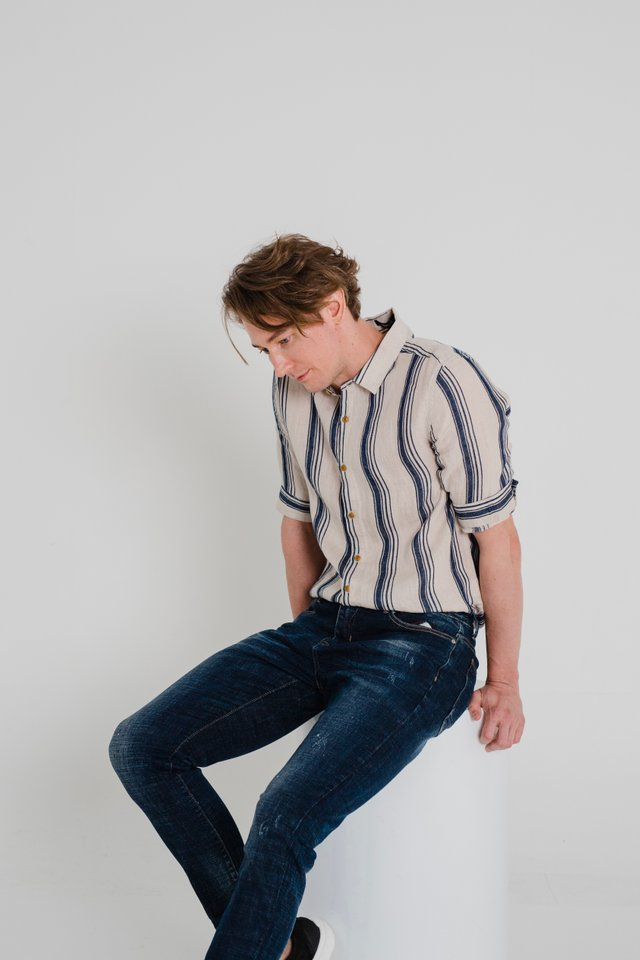 Beige Linen Shirt with Blue Stripes