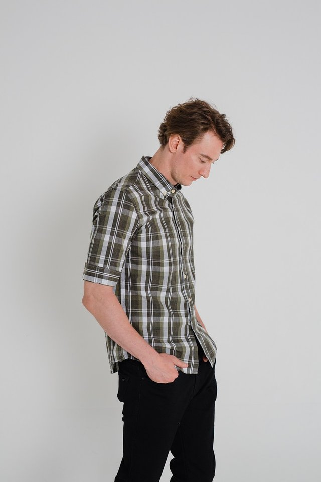 Green Checkered Half Sleeve Shirt