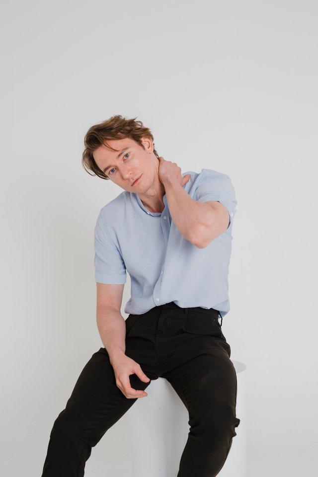 Powder Blue Mandarin Collar Shirt in Short Sleeves