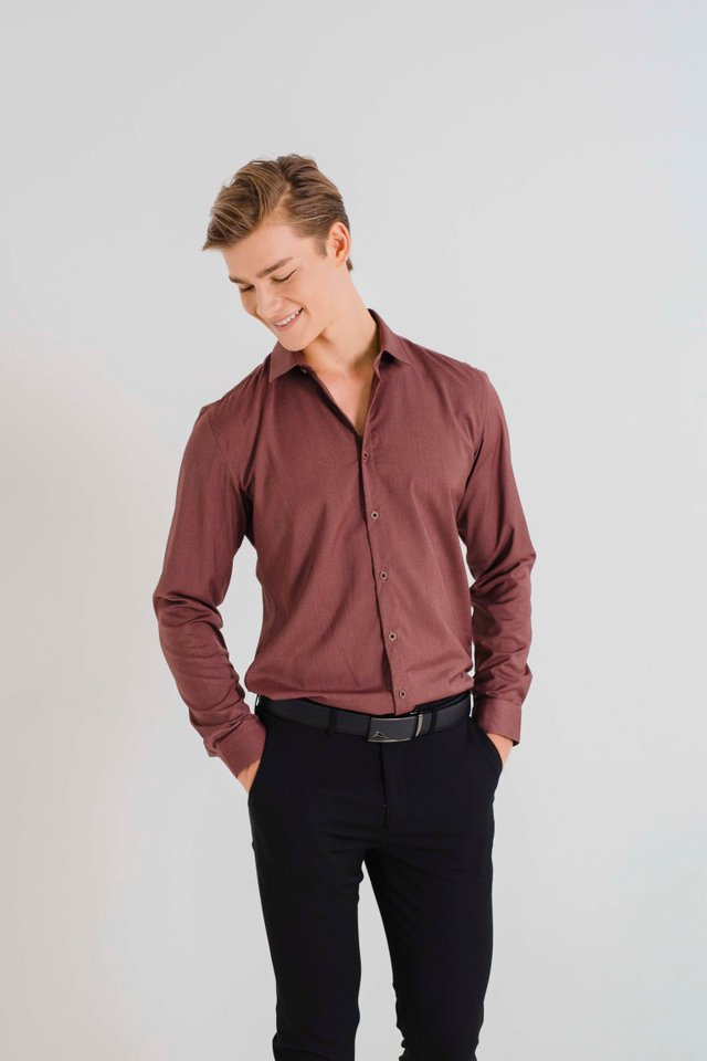 Brick Red Button Down Long Sleeve Shirt