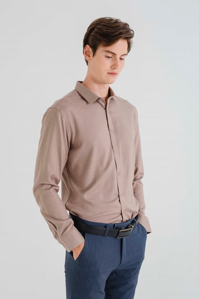 Tortilla Brown Button Down Long Sleeve Shirt
