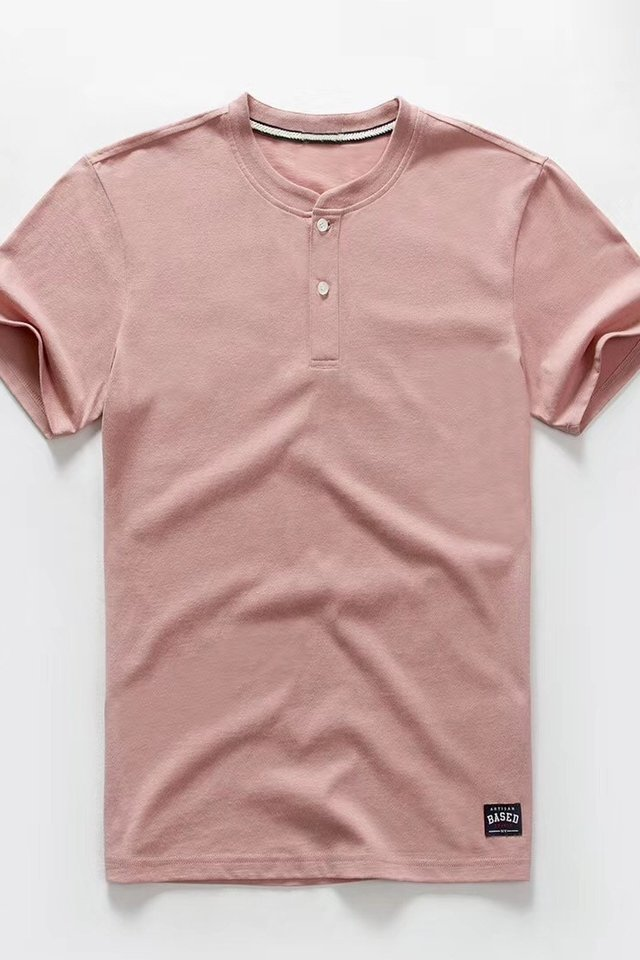 Button Down Mandarin Collar Tee in Peach