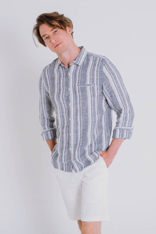 Grey Striped Linen Shirt with Long Sleeves