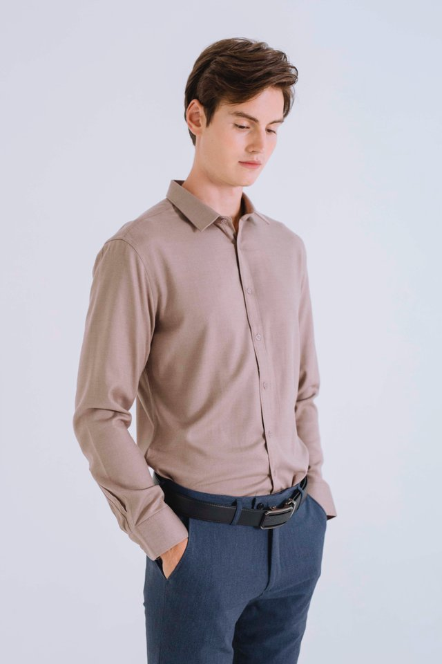 Tortilla Brown Button Down Long Sleeve Shirt