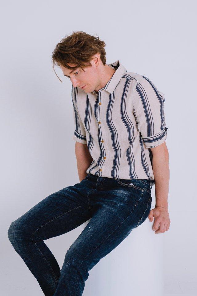 Beige Linen Shirt with Blue Stripes