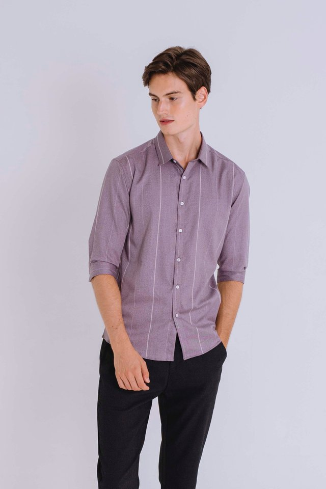 Purple Striped Half Sleeve Shirt