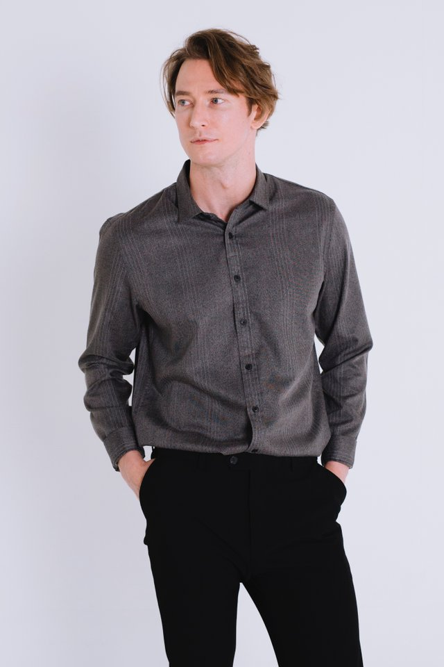 Dark Grey Button Down Long Sleeve Shirt