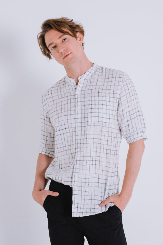White Checkered Mandarin Collar Linen Shirt