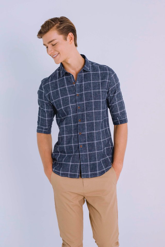 Blue Linen Checkered Shirt with Half Sleeves